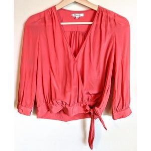 Madewell Coral Silk  Wrap Blouse - XS